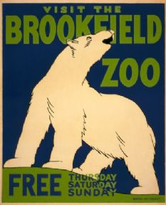 Vintage Travel Poster Visit the Brookfield Zoo, Chicago